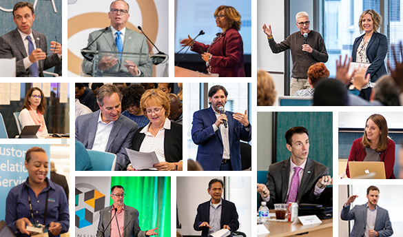 Collage of NCARB's management team at conferences and leading meeting discussions.