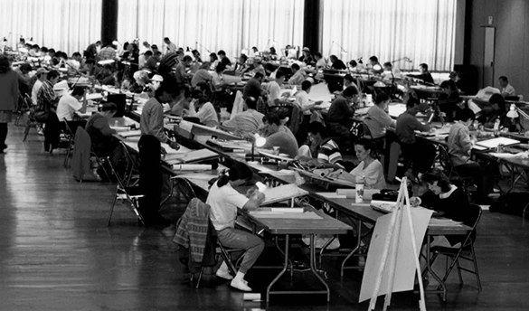 candidates take historical exam in the 1990s